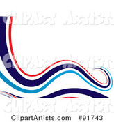 Background of Flowing Red and Blue Waves over White