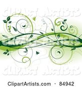 Background of Green Vines and Butterflies