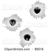 Background of Three Bullet Holes on White