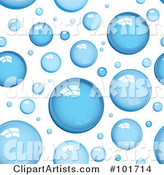 Background Pattern of Shiny Blue Bubbles on White