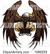 Bald Eagle Mascot Flying and Reaching with Talons