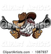 Baseball Cowboy Shooting with Two Pistols