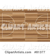 Basketball Court Aerial on Wood