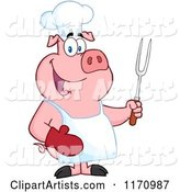 Bbq Chef Pig Holding a Fork