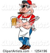 Bbq Pig Chef Holding Tongs, Wearing Sunglasses, Smoking a Cigar and Holding a Beer