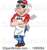 Bbq Pig Chef Wearing an Apron Shades and Holding a Spatula
