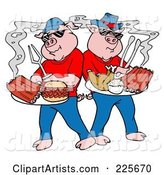 Bbq Pigs with Plates of Ribs, Pulled Pork Burgers and Poultry