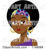 Beautiful Black Woman with an Afro and Headband