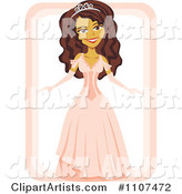 Beautiful Hispanic Girl in a Quinceanera Dress and Tiara on White and Pink