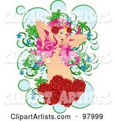 Beautiful Nude Pink Haired Woman with Roses and Bubbles
