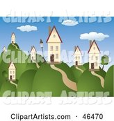 Beautiful Rolling Hill Landscape with Homes Under a Blue Sky