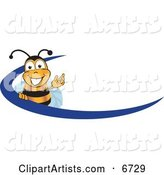 Bee Mascot Cartoon Character Logo with a Blue Dash