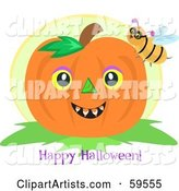 Bee on a Pumpkin with a Happy Halloween Greeting