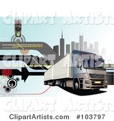 Big Rig Background of a Truck and City - 2