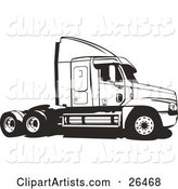 Big Rig Truck Without the Cargo Carrier, Black and White