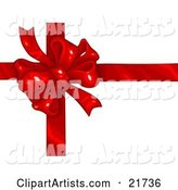 Birthday, Anniversary, Valentine's Day or Christmas Present Wrapped with a Red Ribbon and Bow over White