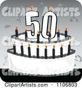 Black and White 50th Birthday Cake with Candles and Confetti on a Gray Square
