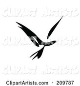 Black and White Abstract Bird in Flight