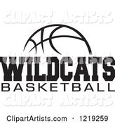 Black and White Ball with WILDCATS BASKETBALL Text