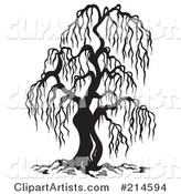 Black and White Bare Willow Tree Design