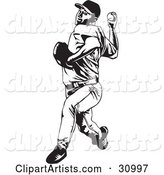 Black and White Baseball Player Pitching a Ball