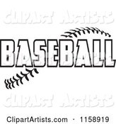 Black and White Baseball Text over Stitches