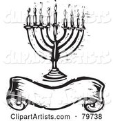 Black and White Carved Menorah over a Blank Banner