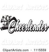 Black and White Cheerleader Text with a Pom Pom and Megaphone