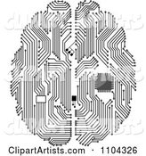 Black and White Circuit Brain with a Computer Chip