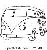 Black and White Coloring Page Outline of a Floral Hippie Bus Van
