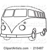 Black and White Coloring Page Outline of a Hippie Bus Van