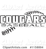 Black and White Cougars Baseball Text over Stitches