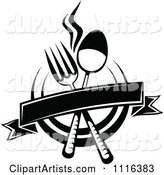 Black and White Dining and Restaurant Menu Silverware Banner and Plate