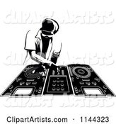 Black and White Disk Jocky Deejay Man Mixing Records