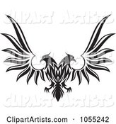 Black and White Double Headed Eagle with Spread Wings