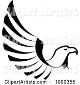 Black and White Eagle in Flight Logo