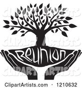 Black and White Family Reunion Tree and Uplifted Hands