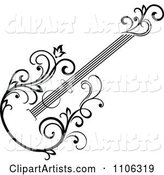 Black and White Floral Guitar 2