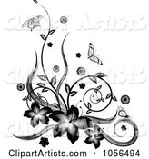 Black and White Floral Vine Corner Design with Butterflies