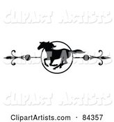 Black and White Galloping Horse Page Divider or Website Header