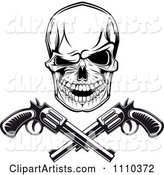 Black and White Gangster Skull with Crossed Pistols