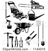 Black and White Garden and Landscaping Tools