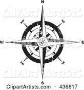Black and White Grungy Compass
