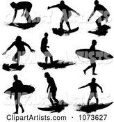 Black and White Grungy Surfer Dude Silhouettes