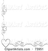 Black and White Heart and Scroll Corner Border on a White Background