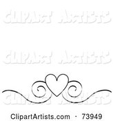 Black and White Heart and Scroll Design Border on a White Background