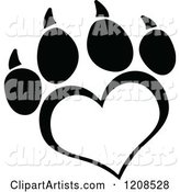 Black and White Heart Shaped Love Paw Print