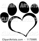 Black and White Heart Shaped Paw Print