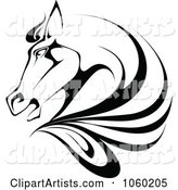 Black and White Horse Head Logo - 1