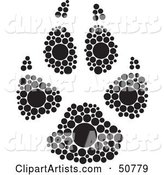 Black and White Inkblot Dog Animal Paw Print